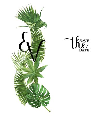 Vector wedding invitation card with green tropical leaves on white background. Luxury exotic botanical design can be used as fashion arrangement, cosmetics, spa, perfume packaging design