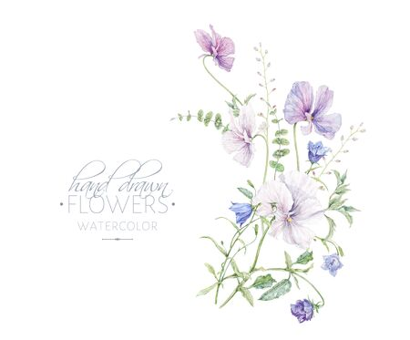 Watercolor hand drawn composition Botanical arrangement for cosmetics, women products package, summer background, wedding greeting design Banco de Imagens