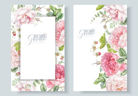 Watercolor frames with pink roses and berries