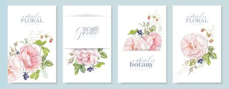 Watercolor hand drawn banners with pink rose, berries and leaves isolated on white background. Botanical arrangement for natural cosmetics, women products, summer background, greeting design Banco de Imagens