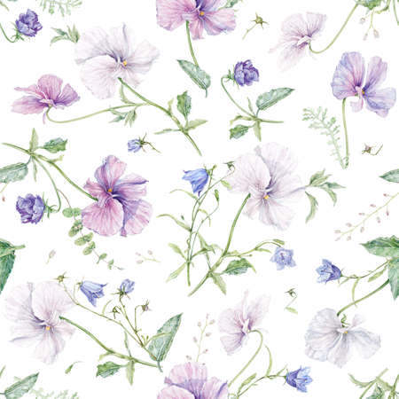 Watercolor violet and bell flower seamless pattern