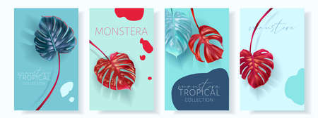 Vector monstera banners with green tropical leaves Ilustração
