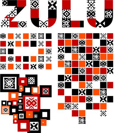 zulu pattern set Vector