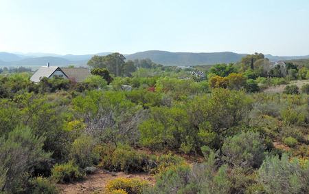 small town life: View over town of McGregor Klein Karoo Western Cape South Africa