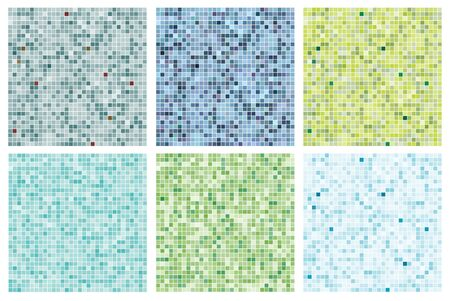 tile pattern: Seamless mosaic tile pattern in blues and greens Illustration