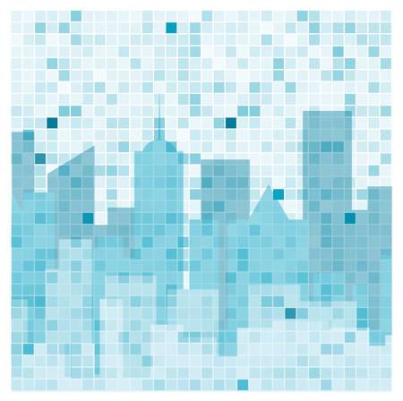 urban background: city building skyline reflection on mosaic tile window