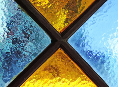 colored: yellow and blue brightly coloured glass