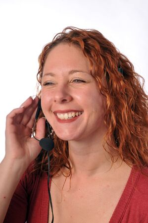 attractive redheaded helpdesk employee or telematketer