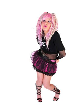 pink hair punk girl Banco de Imagens - 3995379