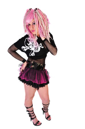 punk fashion by a woman with pink hair photo
