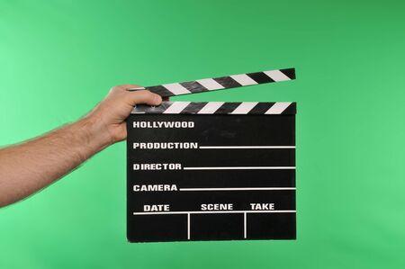 movie clapper on chroma green Stok Fotoğraf