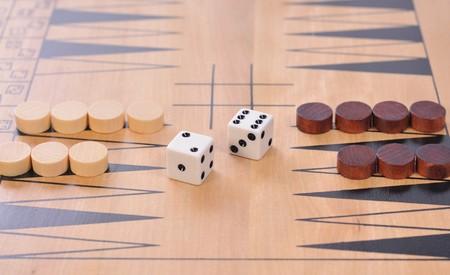 eenvoudige houten bordspel Stockfoto