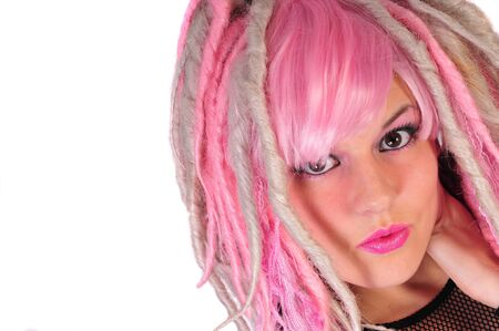 a pink hair punk girl Stock Photo