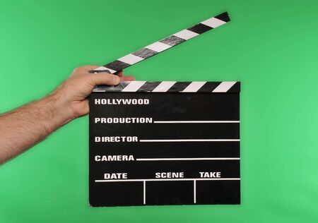 movie clapper on chroma green Stock Photo
