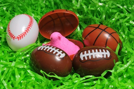 green easter grass and sports eggs Stock Photo