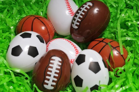 sports easter eggs on grass
