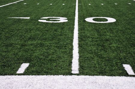 football field sideline and yard marker