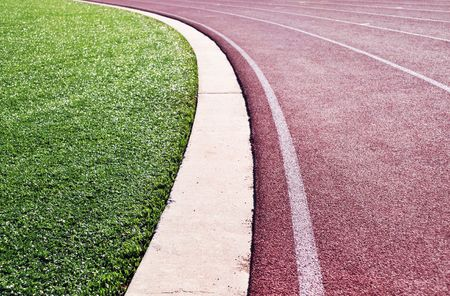 lanes of the curve on a runners track