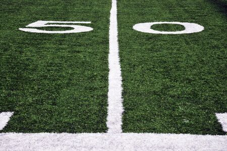 American Football Field at the fifty yard line Banco de Imagens - 4934114