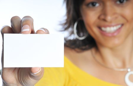 woman showing her business card with focus on the card. Stock Photo