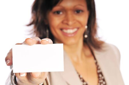 businesscard: young business woman with a blank business card Stock Photo