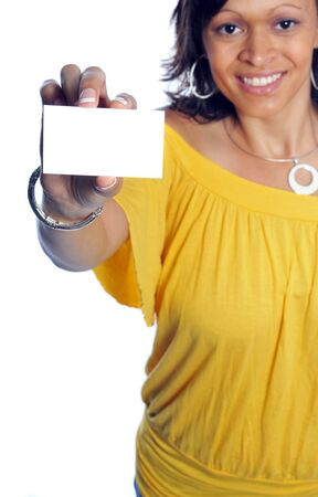woman hold out her business card and smiling Banco de Imagens - 5174062