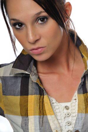 白い背景に魅力的な若いビジネス女性 写真素材