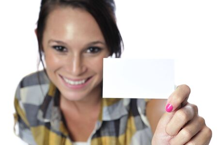 businesscard: attractive young woman in a plad business casual look Stock Photo