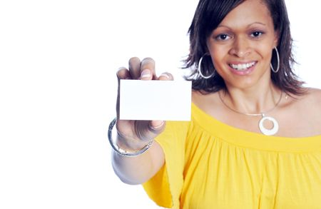 businesscard: an Attractive Young Business Woman in casual fashion on white background