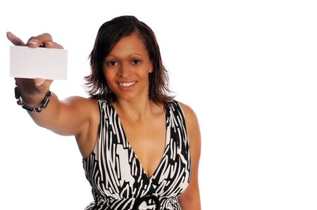businesscard: a young business woman in casual dress against a white background