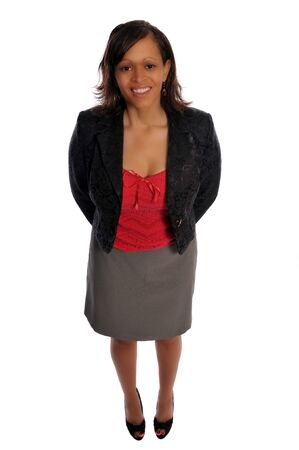 black empowerment: a young business woman in casual dress against a white background