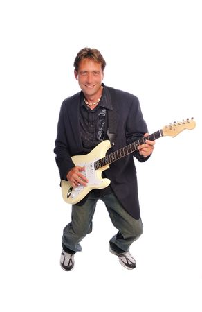 man with an electric guitar rocking out on a white background
