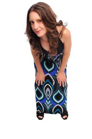 白い背景の上を設定ドレスの魅力的な若い女性 写真素材