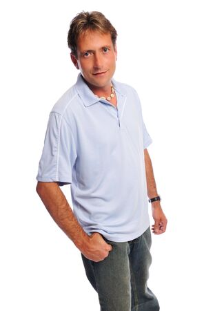man in casual on white
