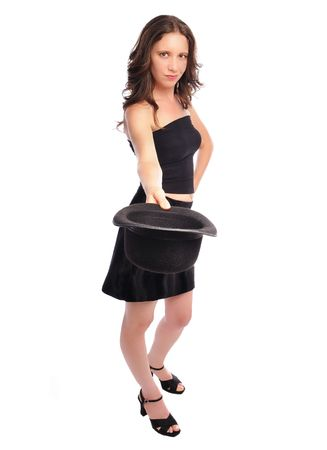 tube top: woman in a miniskirt and tube top tipping her hat set on a white background