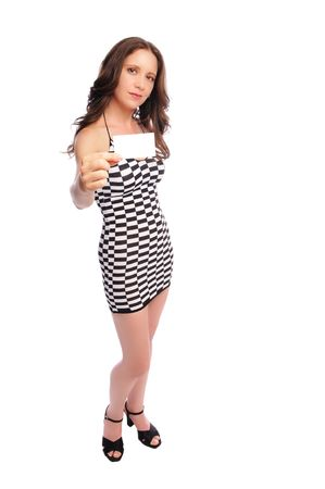 businesscard: woman in a sexy mini-dress holding a businesscard on a white background