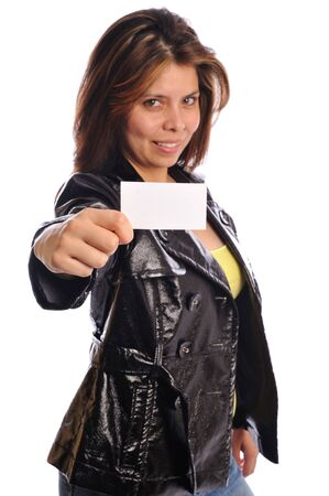 businesscard: woman in leather hold a business card set on a white background Stock Photo