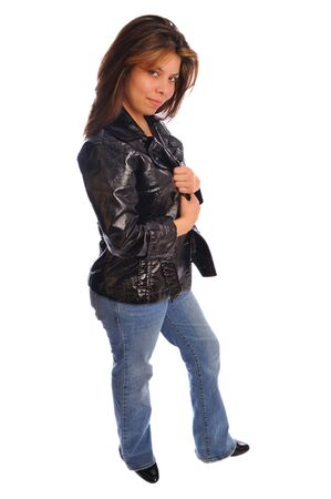 an attractive model dressed in casual fashion on a white background Stock Photo