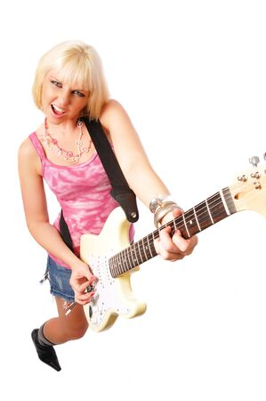 a very attractive blonde woman with a guitar on a white background photo