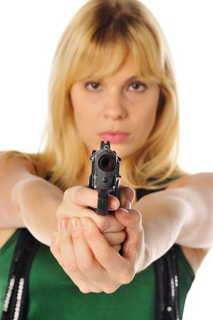 blond woman with a gun, focus on the gun not the woman photo
