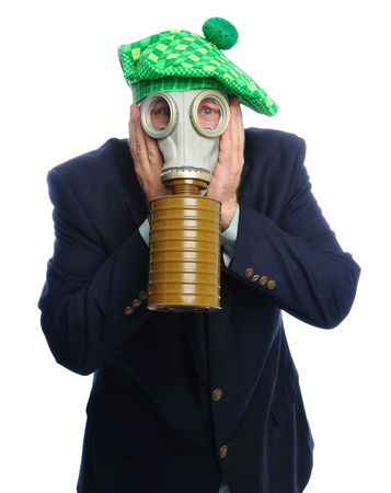 Man wearing a suit and gas mask on a white background