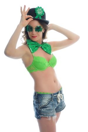 attractive young woman all dressed up for st patties day Stock Photo - 6442825
