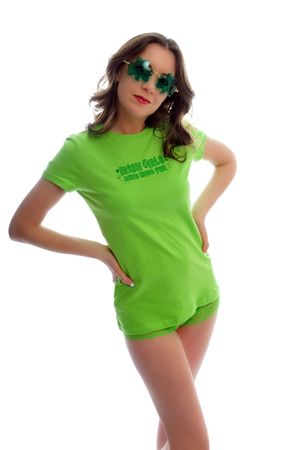 attractive young woman all dressed up for st patties day photo