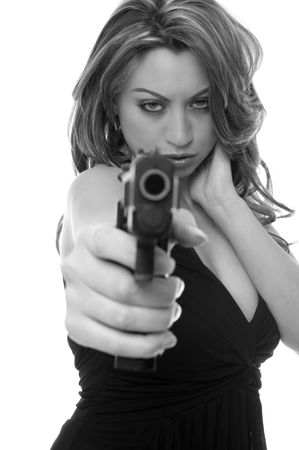 point and shoot: Attractive woman with a gun Stock Photo