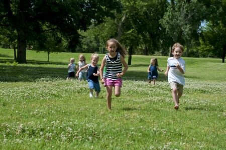 kids having summer fun outdoors at the park Stock Photo - 7231098