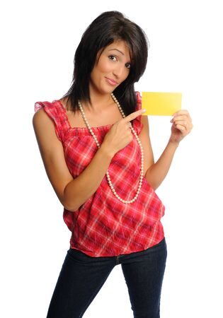 attractive hispanic woman on a white background holding school or office supplies Banco de Imagens - 7569129