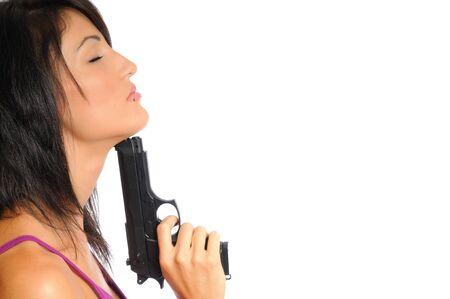 attractive hispanic woman posing on a white background Banco de Imagens