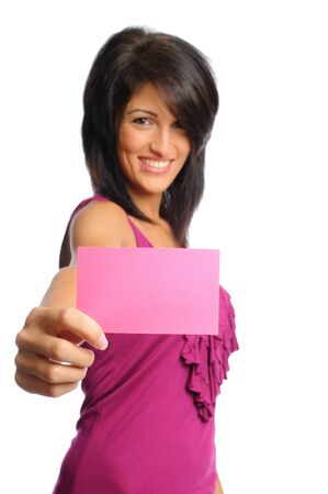 attractive hispanic woman holding bright index cards on a white background Stock Photo - 7648244