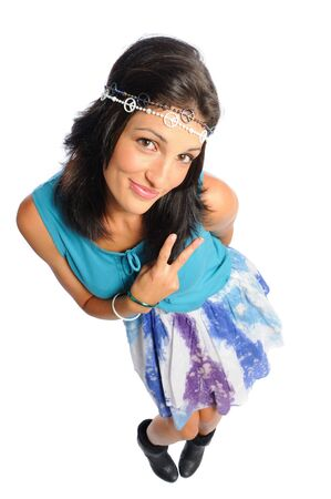 hispanic woman dressed as a hippie on a white background Banco de Imagens