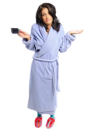 a white robe: woman in a robe and slippers holding her coffee on a white background